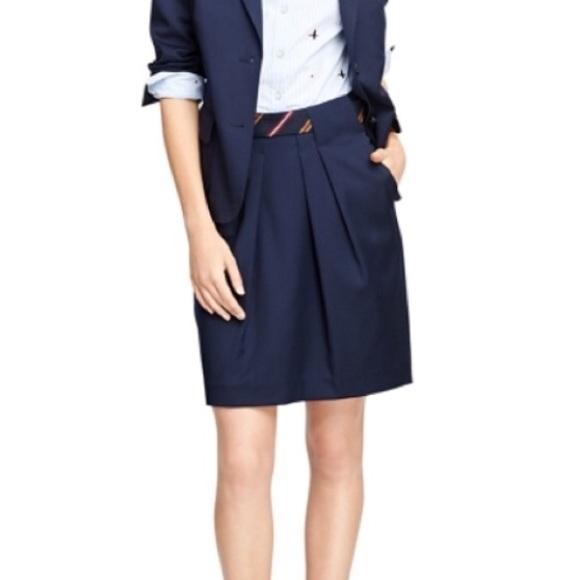Brooks Brothers Dresses & Skirts - Brooks Brothers Navy blue belted skirt